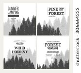 pine forest. journey banner... | Shutterstock .eps vector #306664223