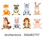 set of cartoon sitting animals. ... | Shutterstock .eps vector #306682757