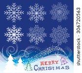 christmas snow flakes... | Shutterstock .eps vector #306720563