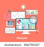 analysis concept in flat style. ... | Shutterstock .eps vector #306750107