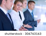 smiling business people... | Shutterstock . vector #306763163