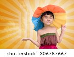 little girl with summer fashion ... | Shutterstock . vector #306787667