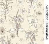 hand drawn spring floral...   Shutterstock .eps vector #306803297