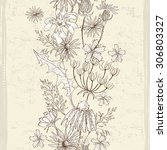 hand drawn floral seamless... | Shutterstock .eps vector #306803327