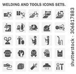 welding work and welding tools... | Shutterstock .eps vector #306817883