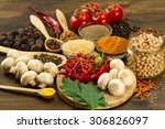 wooden table with colorful... | Shutterstock . vector #306826097