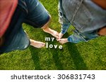 couple standing barefoot in the ... | Shutterstock . vector #306831743