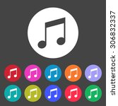 music icon. notes. set of... | Shutterstock .eps vector #306832337