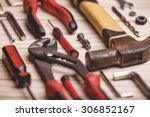 background of tools and... | Shutterstock . vector #306852167