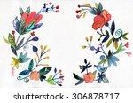 flowers frame watercolor... | Shutterstock . vector #306878717
