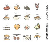 food icon set  flat line color... | Shutterstock .eps vector #306917327