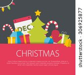 flat design christmas concept.... | Shutterstock .eps vector #306925877