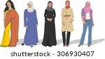group of beautiful muslim women | Shutterstock .eps vector #306930407