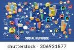 social network concept. flat... | Shutterstock .eps vector #306931877