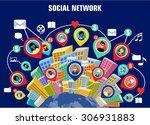 social network concept. flat... | Shutterstock .eps vector #306931883