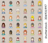 set of outline people icons.... | Shutterstock .eps vector #306931997