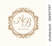 elegant floral monogram design... | Shutterstock .eps vector #306947597