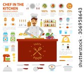 chef in the kitchen infographic ... | Shutterstock .eps vector #306958643