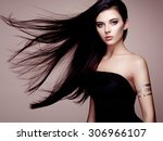 fashion portrait of elegant... | Shutterstock . vector #306966107