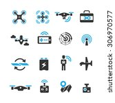 drone icons set vector   Shutterstock .eps vector #306970577