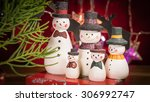 snow man family time selective... | Shutterstock . vector #306992747