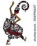 woman in ethnic style fun... | Shutterstock . vector #306996647