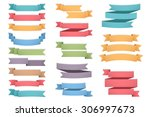 blank colored ribbons set  one  ... | Shutterstock .eps vector #306997673