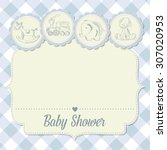 Baby Boy Shower Card With Retr...
