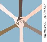 teamwork hands  collaboration... | Shutterstock .eps vector #307021637