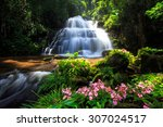 Waterfall And Pink Flowers In...