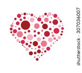red shades heart shaped dots on ...   Shutterstock .eps vector #307036007