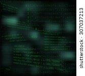 perspective green code text...   Shutterstock .eps vector #307037213