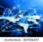 world map on a technological... | Shutterstock . vector #307056347