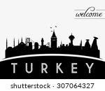 turkey skyline silhouette... | Shutterstock .eps vector #307064327
