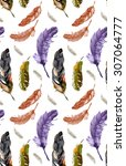 feathers pattern watercolor 1 | Shutterstock . vector #307064777