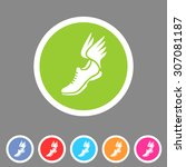 running shoes wings icon flat... | Shutterstock .eps vector #307081187