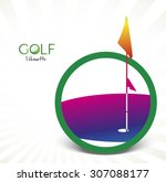 colorful golf silhouette... | Shutterstock .eps vector #307088177