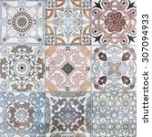 beautiful old ceramic tile wall ... | Shutterstock . vector #307094933