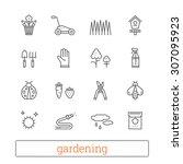garden thin line icons. vector... | Shutterstock .eps vector #307095923