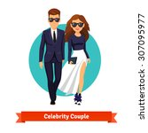 man and woman stylish hollywood ... | Shutterstock .eps vector #307095977