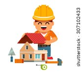 young smiling house builder in... | Shutterstock .eps vector #307102433