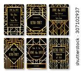 set of vector card templates in ... | Shutterstock .eps vector #307102937