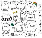 Set Of 11 Sticker Doodle Cats...