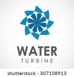 water turbine machine circle... | Shutterstock .eps vector #307108913