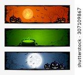 halloween banners with pumpkins ...   Shutterstock .eps vector #307109867
