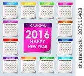 simple 2016 calendar   2016...   Shutterstock .eps vector #307111403
