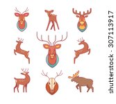 jumping and standing deers ... | Shutterstock .eps vector #307113917