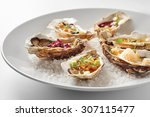 fine dinning oysters plate in... | Shutterstock . vector #307115477