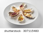 fine dinning oysters plate in... | Shutterstock . vector #307115483