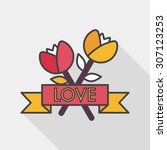 valentine's day flower flat...   Shutterstock .eps vector #307123253